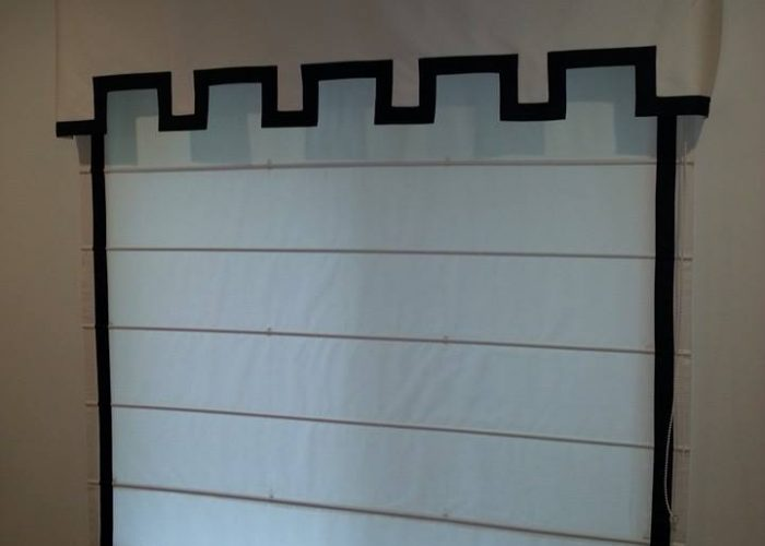 Brown Design | Custom banded Roman Shade with valance | Coral Gables, FL