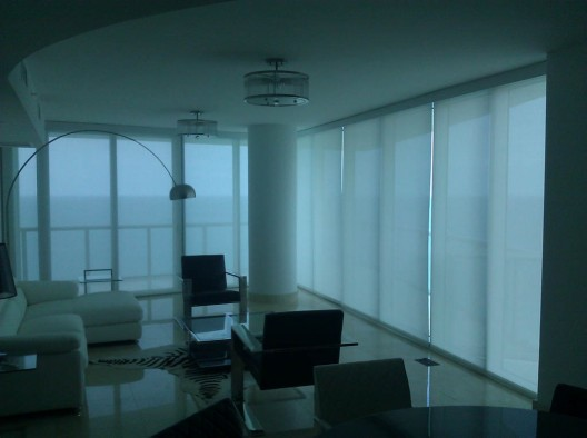 Miami roller shades home office commercial residential Motorized blackout shades with side channels